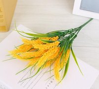 Wholesale yellow rice resale online - Artificial grain flower home decorations artificial grass rural style plastic rice silk flowers plastic flowers SF013