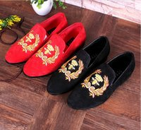 Wholesale Dress Handwork - Men Velvet Shoes New Style Metal toe with handwork embroidery Smoking Slipper Men's Flats shoes size 38-43 Free shipping