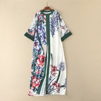 Wholesale Easy Wear Dress - European and American women's wear 2017 The new winter Easy printing Round collar Slit long dresses