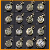 Wholesale Mini Pocket Watch Necklaces - Fashion Bronze Vintage Mini Pocket Watches Necklace chain Pendent Watch Antique Quartz Pocket Watches For Kids and Women
