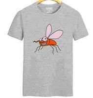 Wholesale Red Mosquito Insect - Attack mosquito T shirt Smile skeeter short sleeve gown Injurious insect tees Leisure unisex clothing Quality cotton Tshirt
