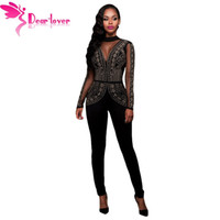 dd2493b4181 Wholesale- Dear-Lover Long Jumpsuits Playsuits Steampunk Studded Pattern  Mesh Insert Night Club Rompers Overalls for Women Winter LC64123