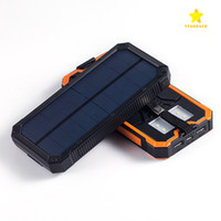 Wholesale External Battery Flashlight - 12000Mah Solar Power Bank Waterproof Sbockproof Dustproof Portable External Battery with LED Flashlight for iPhone 7 Plus