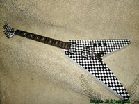 Wholesale Flying Instruments - Custom Shop Flying V Electric Guitar square Black White High Quality OEM Musical instruments