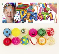 Vente en gros-12Pcs 32mm assortis High Bounce caoutchouc Ball Medium Bouncy boule Pinata Fillers enfants jouets Party Favor Bag cadeaux Treat Bag Goody Bag