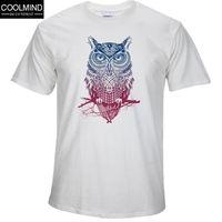 Wholesale Owl Tees - Fashion short sleeve owl printed men tshirt cool funny men's tee shirts tops men T-shirt cotton casual mens t shirts T01