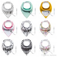 Wholesale Free Baby Pacifiers - INS Triangle Bibs Burp Cloth Baby Cartoon Pattern Printed Saliva Towel Pacifier Holder Kids Cotton Double Layers Feeding Slobber Bibs H487
