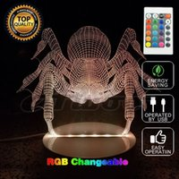 Halloween Spider Lamp 3D Party Colourful Nightlight Scena di Halloween Props Realistica Festival Divertenti giocattoli con telecomando