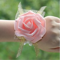 Wholesale Decorated Ribbon - 6cm Wedding Wrist Flower Party Wrist Decoration Artificial Flowers Decorated with Ribbon and Lace 9 color