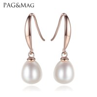 Wholesale Sending Earring Boxes - PAG&MAG Brand New Simple And Stylish Sterling Silver Pearl Water Drop Earrings For Women Jewelry Anniversary Gift Brinos Send Free box