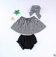 Wholesale Wholesale Baby Clothings - Baby girls outfits summer new toddler kids stripe slash neck tops+pompon tassel lace shorts+bows hair band 3pcs children clothings T2950