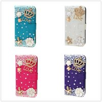 Wholesale Diamond Flower Leather Case Iphone - Luxury Glitter Crystal Diamond Rhinestone Butterfly flower Case For Apple Iphone 5S 4 Iphone 6 6S Plus case 7 7Plus PU Leather