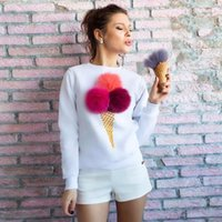 Wholesale Girls Ice Cream Top - Women Ice-cream Sweater Girl Spring Summer Long Sleeve Shirt o-neck Women Tops with Colorful hairball hoodies Tees 7colors