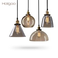 Holigoo Retro Vintage Pendant Lamp Lustres Glass Lampshade Pendant Light E27 110V 220V для столовой Домашнее украшение Освещение