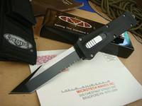охотничьи ножи для продажи оптовых-Продажа 2 стили MICRO TECH складной лезвие зуб тактические автоматические ножи 440 лезвие цинка алюминиевого сплава ручка выживания EDC охотничий нож