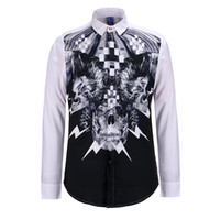 Wholesale Formal Clothes Men - Fashion Skull Printed 3D Men Shirt Chemise Brand Design Long Sleeve Vintage White Base Male Formal Shirt for Party Clothes BL-008