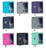 Wholesale Ipad 234 Covers - 3 in 1 Defender waterproof shockproof Robot Case military Heavy Duty silicon cover for ipad air 5 air2 6 ipad 234 ipad mini 123 4
