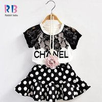 Wholesale Sleeveless T Shirts For Babies - Wholesale- 2017 New Summer Girls Clothing Set Baby Girl's Sets(T-shirt+Skirt) Fashon casual kids suit for 1-6 Years children suits