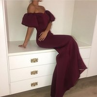 Wholesale Cheap Puffs - Burgundy Mermaid Prom Dresses Long Off The Shoulder Puff Sleeves African Dresses Evening Wear Custom made Cheap Vestidos Women Party Dress