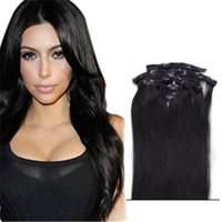 Wholesale Double Wefted Hair Extensions - Double Wefted Clip In Human Hair Extensions Malaysian Hair Clip Ins Straight Jet Black Human Hair Extensions