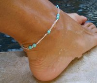 Wholesale Sport Souvenirs - Unique Nice Turquoise Beads Silver Chain Anklet souvenir Ankle Bracelet Foot Jewelry Fast Free Shipping New Hot Selling 1
