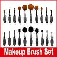 Wholesale Set Up Boxes Wholesale - hot 10pcs set Tooth Brush Shape Oval Makeup Brush Set Professional Foundation Powder make up brushes Makeup Tool with retail box LOGO