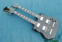 Wholesale Double Neck Oem - Black 1275 Double Neck Electric Guitar 6 12 Strings Guitars Wholesale OEM Musical instruments