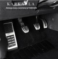 debriyaj pedalları toptan satış-Toptan-Paslanmaz Çelik Manuel Şanzıman MT AT Pedal Dahil Footrest + Gaz + Debriyaj + Fren Pedalı SEAT LEON 2013 2014 2015 için
