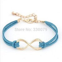 Wholesale Cheap Leather Beaded Bracelet - SL103 Hot Selling Cheap Wholsale Fashion Infinity Leather Bracelet Eight Cross Bangle For Girl Wedding Jewelry Accessories