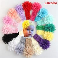 flores de crochet para faixas de bebê venda por atacado-Headwear Cabeça Headbands para Bebês Flor Acessórios Para o Cabelo 4 polegada Chiffon Flor com Soft Elastic Crochet Headbands Hairband DHL Livre