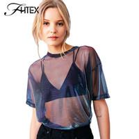 Wholesale Transparent Loose Shirt - Gauze Transparent Sexy Shine T Shirt Women O Neck Short Sleeve Summer Tops Shirts Casual Loose Blusas 2017 17409