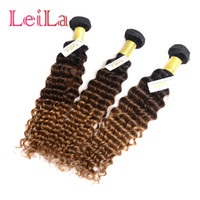 Wholesale Deep Curl Peruvian Hair - Brazilian Malaysian Indian Peruvian Hair 1B 4 27 Deep Wave Hair 3 Pieces lot Ombre Three Tone Virgin Hair Weft Extensions Deep Wave Curl