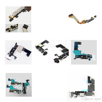 Wholesale Iphone 4s Dock Connector Replacement - Skylet For iPhone 4 4S 5 5C 5S Dock Connector Charger Charging Port Flex Cable Ribbon Replacement Parts Black or White 20Pcs DHL Free