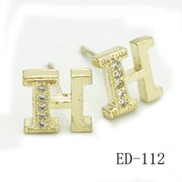 Wholesale Letter H Earrings - Luxury Gold Plated H I M N Letter stud Earrings for Women Girls Ladies Gift Simple Style Zircon Studs Plated Silver Jewelry