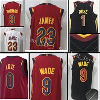 Wholesale Xxl Love - 2017-18 New #9 Dwyane Wade 23 LeBron James Jersey Top sales 3 Isiah Thomas 1 Derrick Rose 0 Kevin Love stitched Jerseys