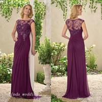 Wholesale Plum Wedding Gown - Elegant Plum Column Mother Of The Bride Dress Lace Applique Formal Godmother Wedding Guest Party Gown Plus Size vestido de madrinha