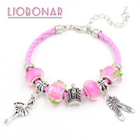 Wholesale Ballerina Shoes Girl - New Pink Leather Bracelet Pink Lampwork Murano Glass Bead Ballet Shoe Dancing Ballerina Charm Bracelets for women girls Jewelry Gift Pulsera