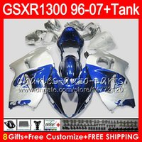 Wholesale Silver Blue Gsxr Fairings - 8Gifts 23Colors For SUZUKI Hayabusa GSXR1300 96 07 1996 1997 1998 15NO91 blue Silver GSXR 1300 GSXR-1300 GSX R1300 1999 2000 2001 Fairing
