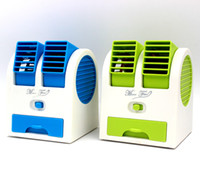 Wholesale Bladeless Fans - Bladeless Fanners Two Port Mini Fans USB Refrigeration Air Conditioning Electric Fan Mute Plastic Fanner For Summer 13 9lc A R