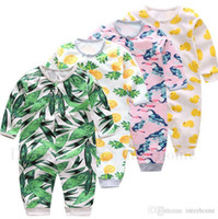 Wholesale Bamboo Newborn - Newborn Clothes INS Baby Rompers Girls Cotton Printed Onesies Boys Long Sleeve Pants Button Jumpsuits Bamboo Flamingos Pear Clothing H520