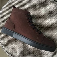 New Arrival 2017 Hommes Femmes Brown Suede Cuir Bottom Haut Haut Sneakers, Design Bottes Casual Chaussures 36-46 Drop Shipping