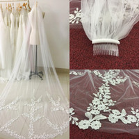 Wholesale 1t Lace Wedding Cathedral Veil - 2018 New Arrival Stock 3 Meters Long Tulle Wedding Veil with Comb and Lace Appliques 1T Real Photo Bridal Veil Wedding Accessories CPA886