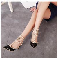 Wholesale womens dance shoes high heel - Elegant Sandals Wedding Prom Party Stilettos Womens Shoes Pointed Toe High Heels Ladies Dance Shoe Heel 7.5 cm Buckle Strap Rivets