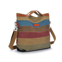 Wholesale Canvas Decorating Bags - Wholesale- Fashion 2016 Best Selling Women Classic Colorful Striped Canvas Women Tote Bags Crossbody Bags Decorated with Zipper