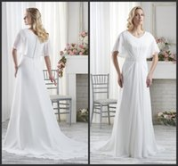 Wholesale Unique Elegant Short Wedding Dresses - White Pearl Cheap Bridal Gown Fashionable Zipper Back Short Sleeve Elegant Sweep Trian A Line Style Free Shipping Unique Design Hot Sale