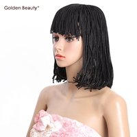 Wholesale Synthetic Hair Wigs Short Bob Wig Synthetic Heat Resistant Black Brown Box Braid Wigs for Black Women inch Golden Beauty