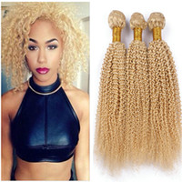 Wholesale blonde afro curly hair resale online - Kinky Curly Brazilian Blonde Human Hair Extensions Gram Golden Blonde Virgin Remy Human Hair Weave Bundles Afro Curly Wefts
