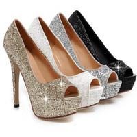 sandalias de tacón de oro por la noche al por mayor-Envío gratis Lady Gorgeous Nightclub Zapatos de noche Super High Heels Peep Toe Sandals Zapatos de vestir de mujer Gold Wedding Bridal Dress Shoes