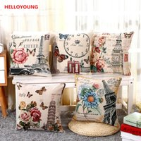 100% Cotton case architecture - BZ063 embroidery Cover Pillow Case Home Textiles supplies Lumbar Pillow Flower landscape architecture