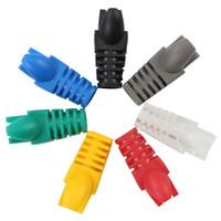 rede de tomada venda por atacado-Atacado-50pcs colorido RJ45 Cap conector CAT5E CAT6 RJ45 Plug cabo de rede Ethernet Strain Relief Boots RJ-45 plugues soquete tampas de inicialização